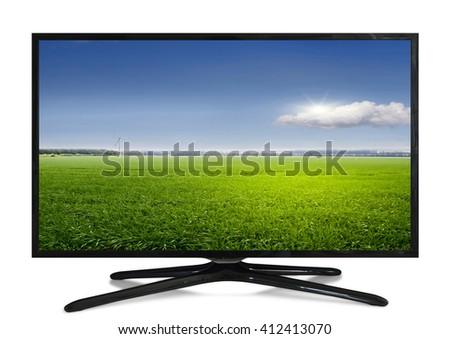 4k monitor isolated on white - stock photo