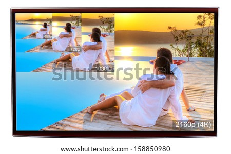 4K television display with comparison of resolutions  - stock photo