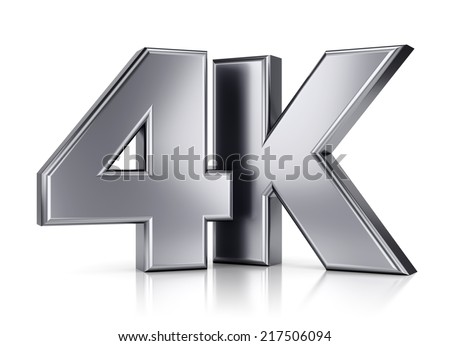 4K ultra high definition television technology logo icon isolated on white background with reflection effect - stock photo