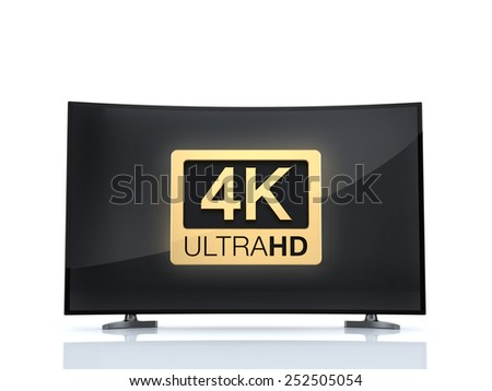 4K UltraHD TV ultra high definition digital television curved screen 4K UltraHD TV isolated on white background  - stock photo