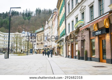 Karlovy Vary historically famous for its hot springs (13 main springs, about 300 smaller ), Czech Republic, 20.10.2015 - stock photo