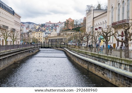 Karlovy Vary historically famous for its hot springs (13 main springs, about 300 smaller ) Czech Republic, 20.03.2015 - stock photo