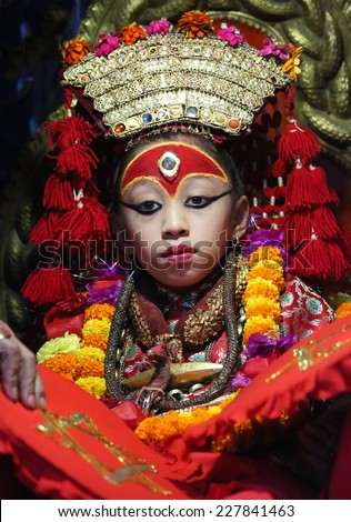 18/9/2014 Kathmandu - Nepal : The living goddes Kumari is finally out of her palace at  Durga Puja festival.