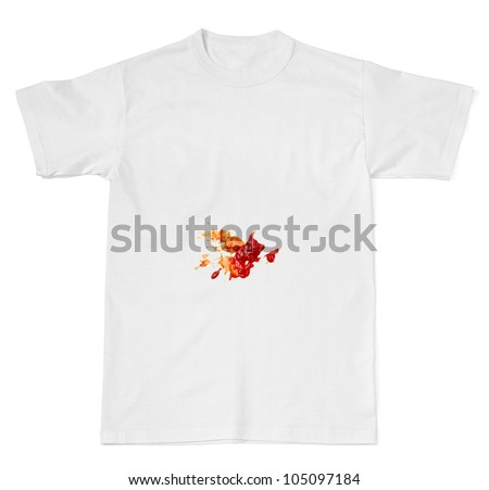 ketchup stain on white t shirt - stock photo