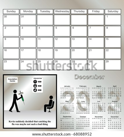 2012 Kevin series calendar for the month of December
