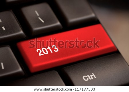 2013 key on keyboard new year