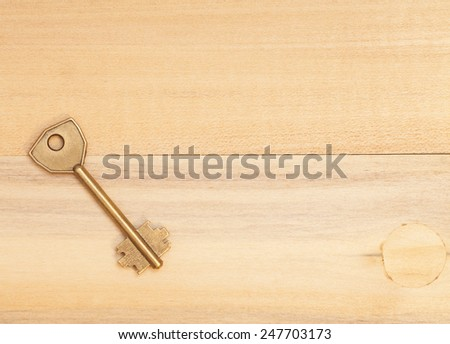 key on wooden table