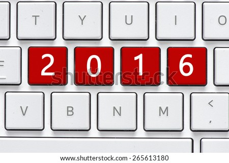 Keyboard with 2016 button. Computer white keyboard with 2016 button - stock photo