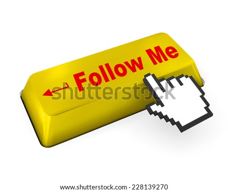 keyboard with  Follow Me button , like, social media - stock photo