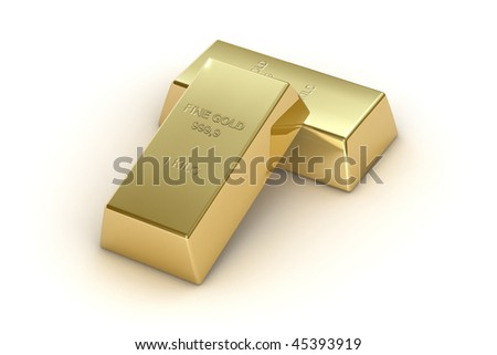 1 kg gold bars, isolated on white background