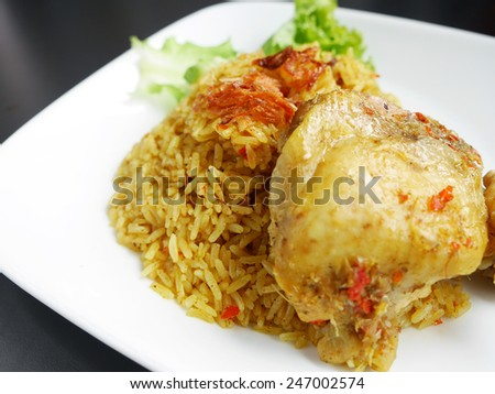 Khao Mok Gai' Thai Chicken Biryani, Halal Chicken and Curry Rice