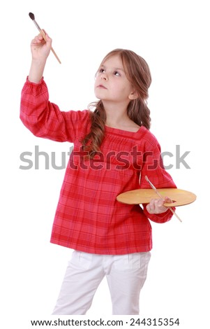kid on Art theme - stock photo
