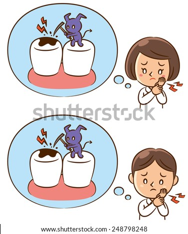 Kids Tooth Pain Illustration - stock photo