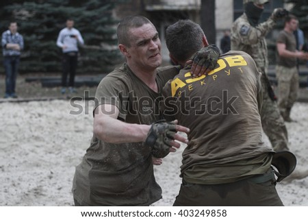 "KIEV, UKRAINE - April 5, 2016: Recruits regiment ""Azov"" passed the final test ""Azov Spartan"" at the training camp in Kiev"