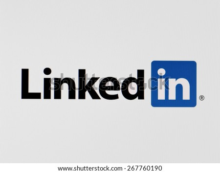 KIEV, UKRAINE - APRIL 03, 2015:Social network LinkedIn icon on the computer screen. LinkedIn - social network to find and establish business contacts. - stock photo