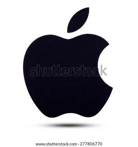 apple logo white on black. kiev, ukraine - may 13, 2015: apple logo printed on paper and placed white black
