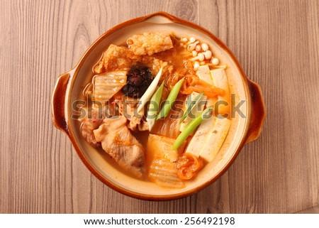Kimchi hot pot  on the table  - stock photo