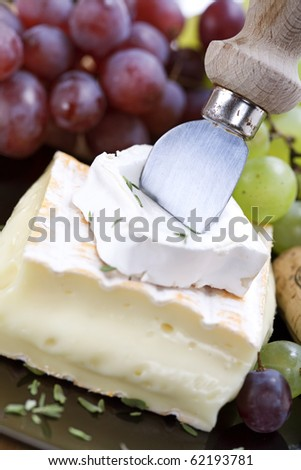 2 kinds of cheese with a cheese knife and grape - stock photo