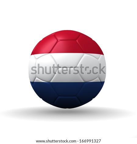 Kingdom of the Netherlands  flag textured on soccer ball , clipping path included