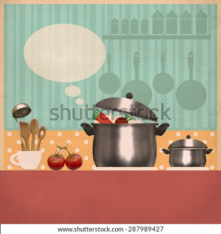 kitchen background.Retro style cooking card on old paper for text