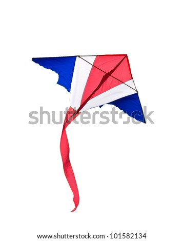 Kite with white isolated. - stock photo