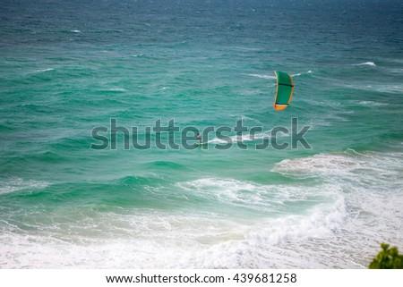 Kiteboarding, kites in the sky - stock photo