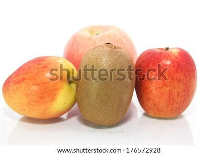 kiwi and apple on white background  - stock photo