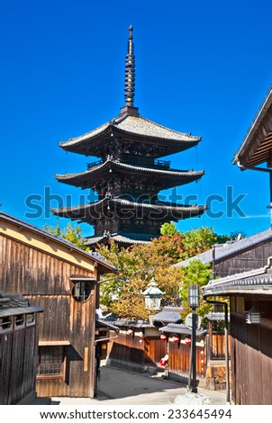 Kiyomizu-dera Buddhist temple in early Autumn Kyoto, Japan. - stock photo