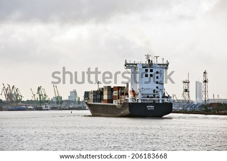 KLAIPEDA,LITHUANIA - JULY 16: containership on July 16,2014 in Klaipeda,Lithuania.