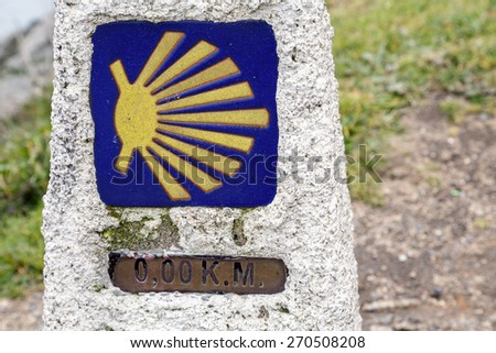 0 km in route to Santiago, cope of Finisterre, La Coruna, Spain - stock photo