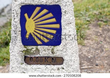 0 km in route to Santiago, cope of Finisterre, La Coruna, Spain - stock photo