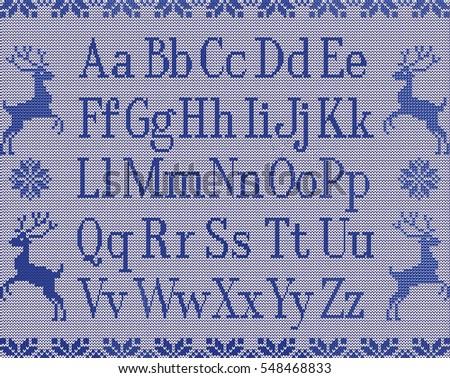 Knitting Latin Letters Deers Stars Winter Stock Illustration