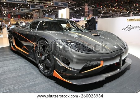 2015 Koenigsegg Agera RS presented the 85th International Geneva Motor Show on March 3, 2015 in Palexpo, Geneva, Switzerland - stock photo