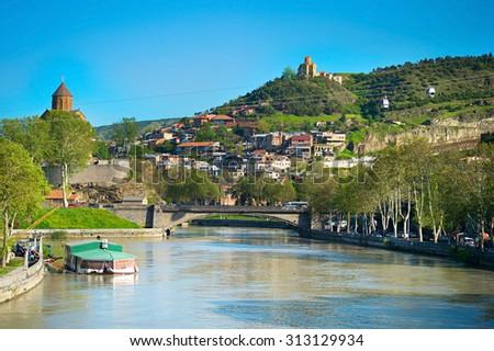 Kura river, Narikala castle, funicular and Old Town of Tbilisi. Georgia - stock photo