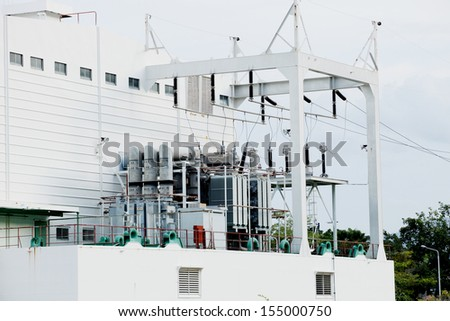 230 kV Substation,part of high-voltage substation with switches and disconnectors, under maintenance - stock photo