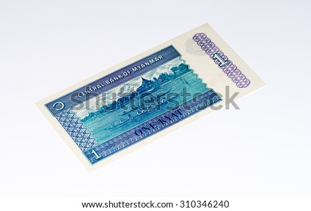 1 kyat bank note. Kyat is the national currency of Myanmar