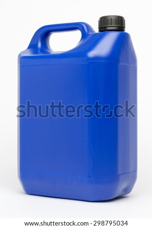 5L HDPE Plastic Jerrycan isolated on white - stock photo