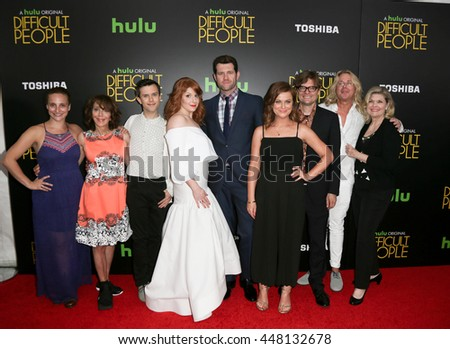 (L-R) Tracee Chimo, Andrea Martin, Cole Escola, Julie Klausner, Billy Eichner, Amy Poehler, James Urbaniak, Scott King & Debra Monk at 'Difficult People' premiere on July 30, 2015 in New York City. - stock photo