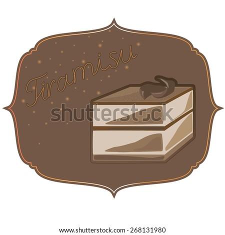 label with Tiramisu and an inscription - stock photo