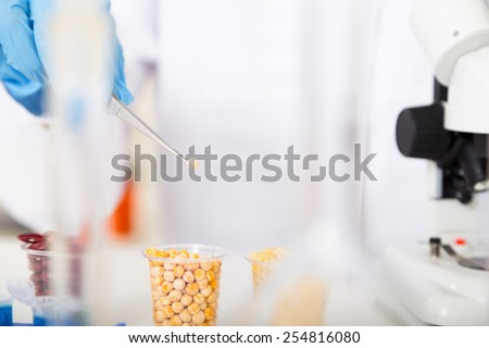 laboratory assistant in the laboratory of food quality - stock photo