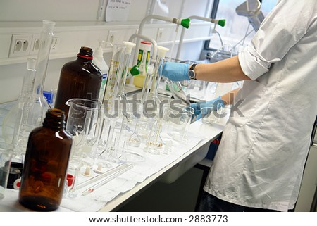 Laboratory bottles - stock photo
