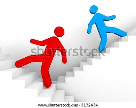 ladders to success - stock photo