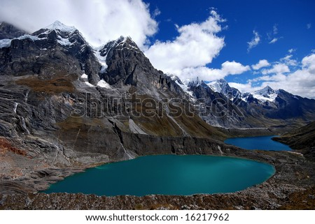 2 lagoon with diferent colors over the peruvian andes