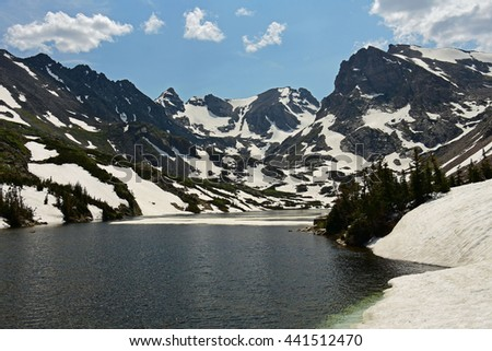 lake isabelle, indian peaks wilderness area, colorado      - stock photo