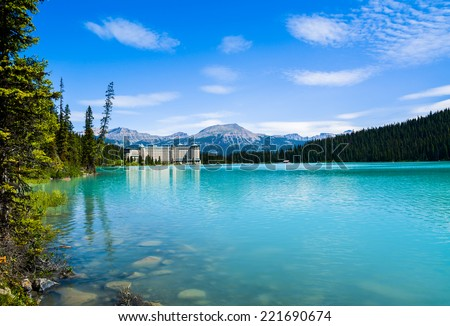 Lake Louise and Fairmont Chateau Hotel, Canada - stock photo