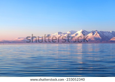 Lake Manasarovar in Western Tibet. According to the Hindu religion, the lake was first created in the mind of the Lord Brahma after which it manifested on Earth. - stock photo