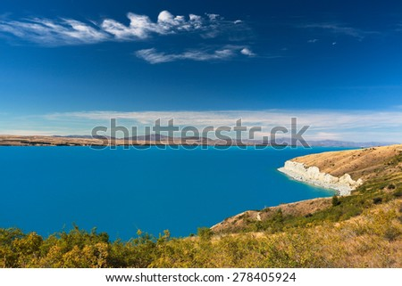 Lake Pukaki with beautiful view on Southern Alps in the background