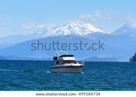 Lake Taupo and snow top of volcano Ruapehu, New Zealand