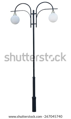 lamp post. Decorative street  lamp-post. isolated on white background. - stock photo