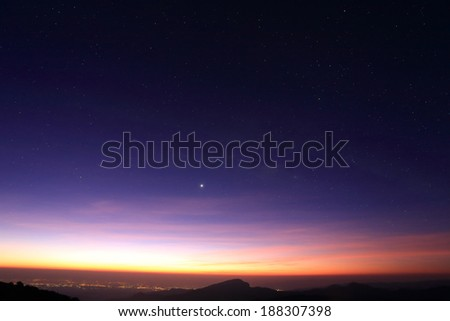 Landscape of sunrise in the morning with star in the sky - stock photo